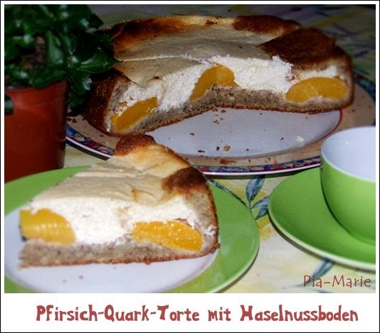 kaffeeklatsch einfache und schnelle rezepte pfirsich quark torte mit haselnussboden. Black Bedroom Furniture Sets. Home Design Ideas