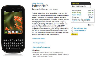Sprint Palm Pixi Dropped Price