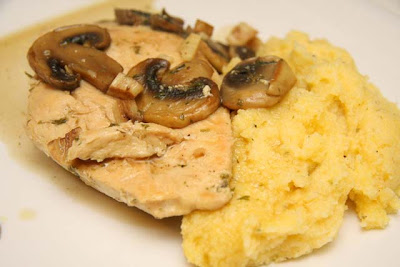 ... little chefs: Braised Chicken with Mushrooms and Oven-Baked Polenta