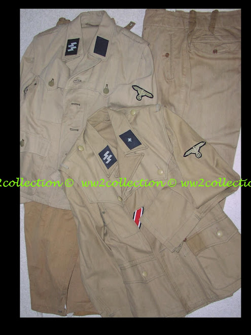 Uniform Waffen-SS tropical four pocket khaki combat tunic and straight leg trousers