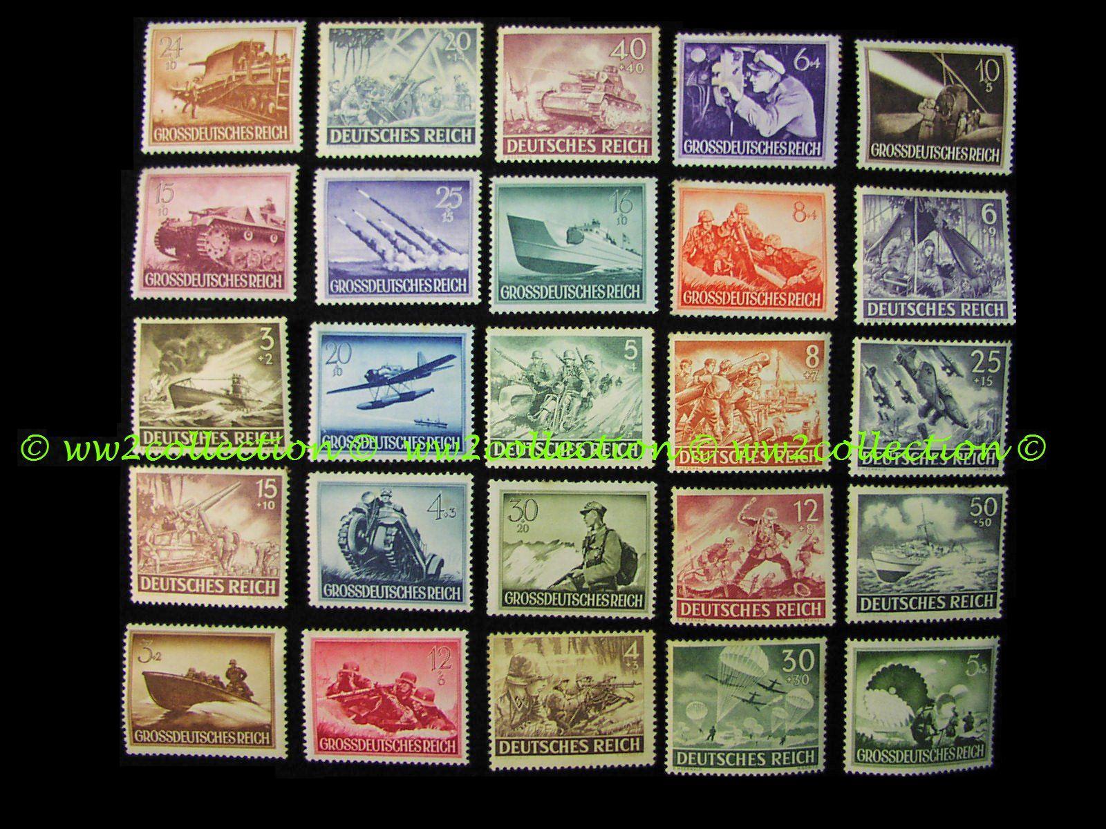 3rd Reich Stamps, Sondermarken Grossdeutsches Reich - Deutsches Reich Briefmarken mit Kampfscenen