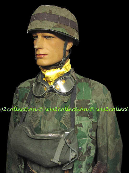 Helmet Cover, Jump Smock and Fjr K98 Ammo Bandoleer, Splinter camo Fallschirmjager German WW2