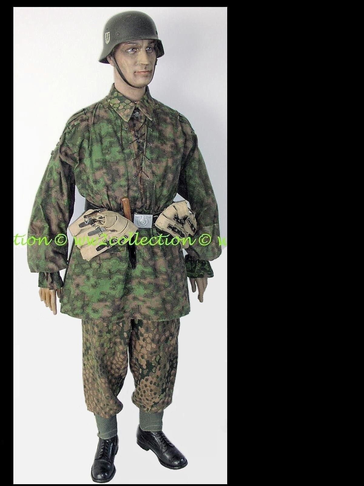 "Tarnhemd Waffen-SS Rauchtarnmuster, SD Waffen-SS Helmet M42 w.name ""SS-Untersturmführer Carl..."""