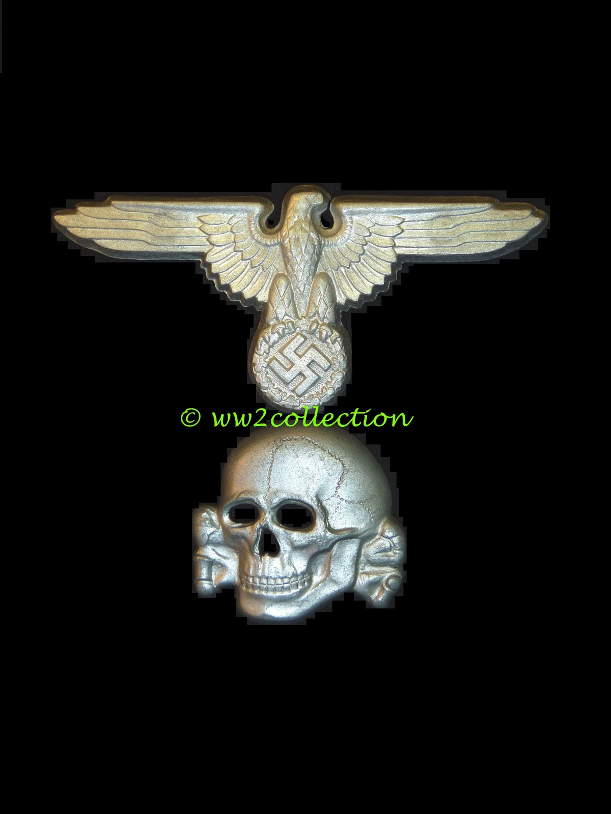 SS metal Eagle and SS Skull for SS Peaked Caps, Authentic WW2 made