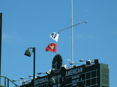 wrigley field blackhawks w flags
