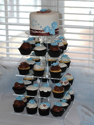 bridal shower cupcake tower carolina blue dark brown color theme