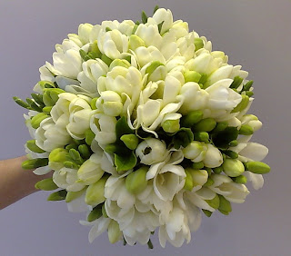 Jenny Had White Freesia Posy Bouquets For Her And Her 3 Bridesmaids