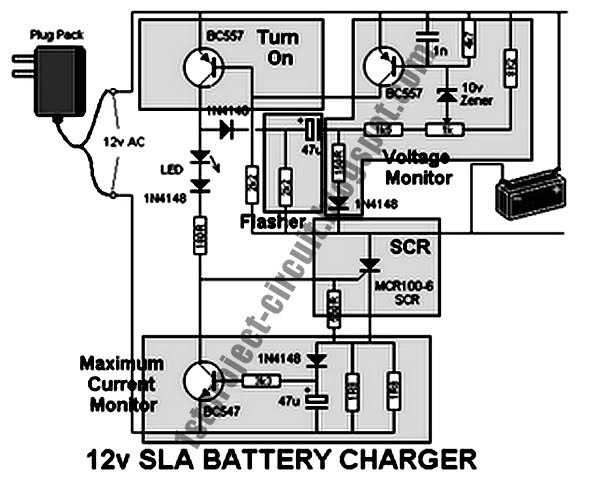 project circuit design  12v battery charger for sealed lead acid circuit