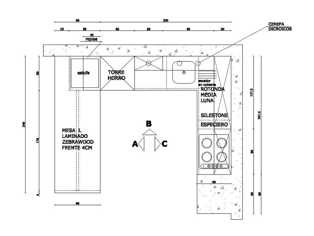 Medidas de muebles de cocina de restaurante for Medidas banco cocina