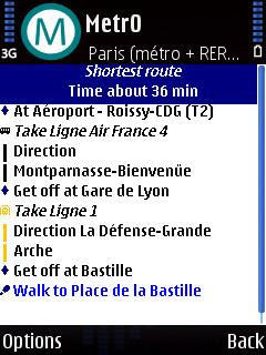 Métro symbian mobile phone public transport navigation, Google Maps with Latitude location sharing