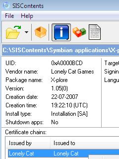 SISContents, unpack, analyse, edit, and sign .sis installer files