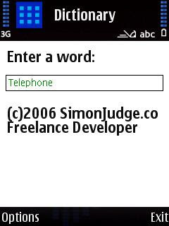 Dictionary, Websters English Dictionary for Symbian phones