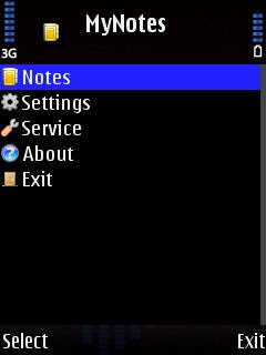 MyNotes, notes, Symbian program, mobile Java application