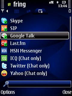 fring VoIP Skype instant messaging Twitter Facebook orkut on Nokia Symbian S60, Palringo chat, UCWEB Symbian web browser with tabbed browsing