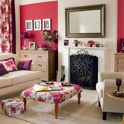 Red accent wall living room interior home design for Red accent wall living room ideas