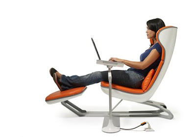 Office Chairs Modern on Furniture Design For Office Modern Orange And White Ergonomic Office
