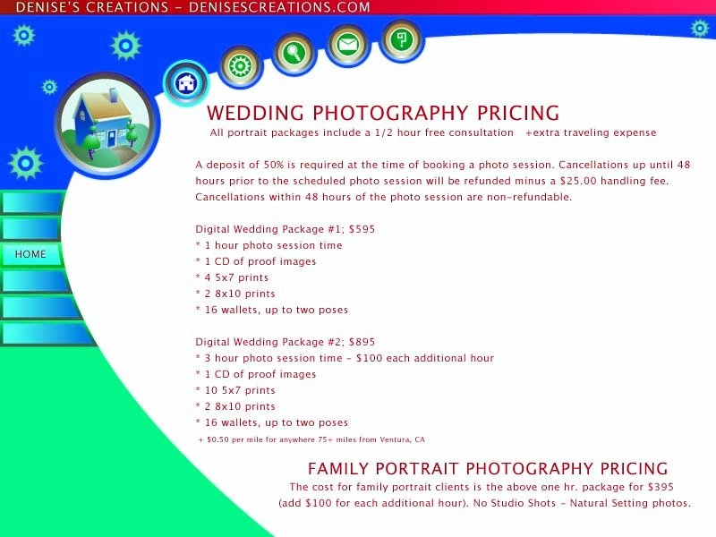 Wedding & FAMILY PORTRAIT Photography Pricing Sheet