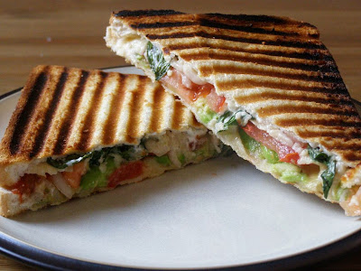 Avocado, Tomato and Red Onion Sandwich