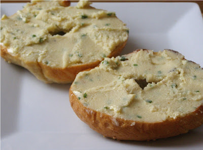 Toasted bagel with Cashew Chive Cheese Spread