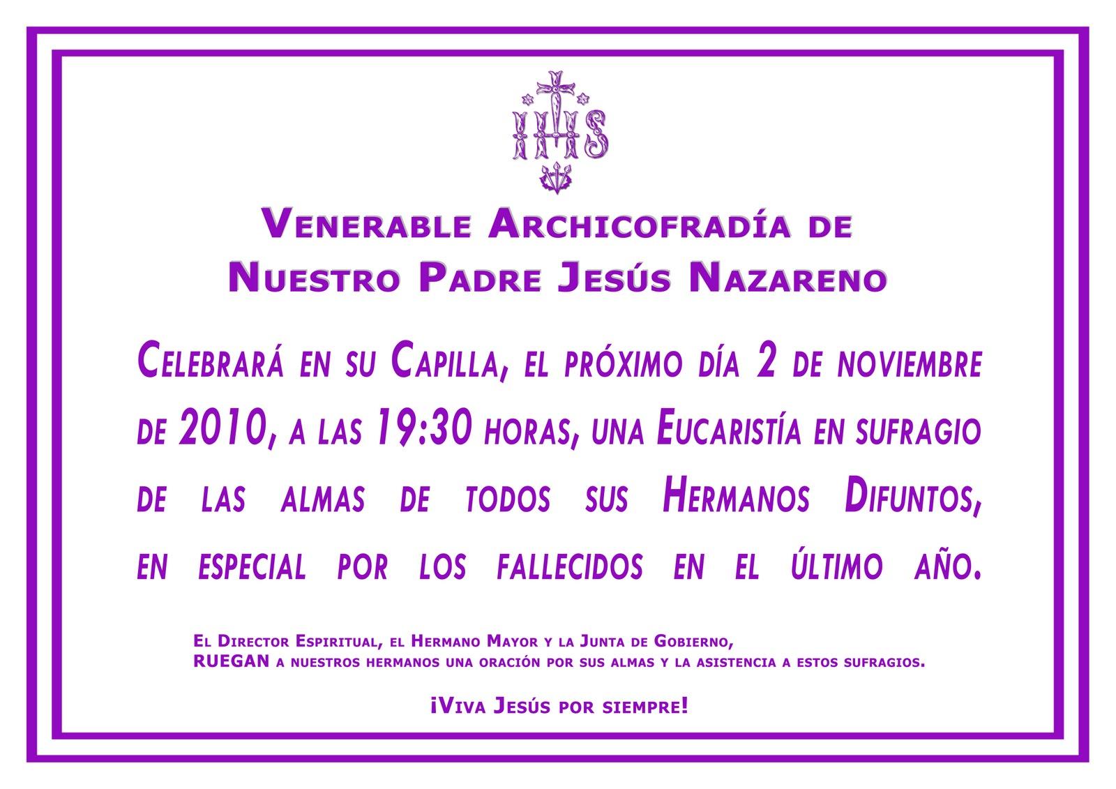 de hoy se ha celebrado en nuestra capilla una misa de difuntos de