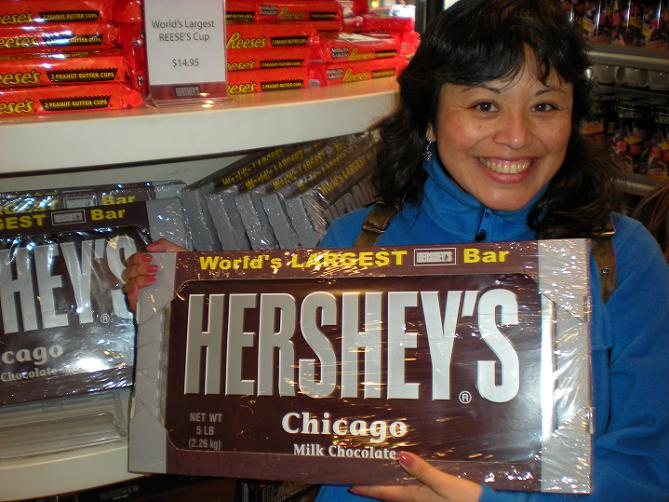 Zulma With a Big Hershey's Chocolate Bar