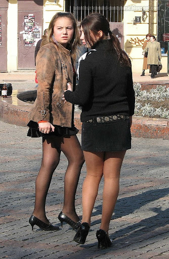 street on pantyhose the Sexy legs