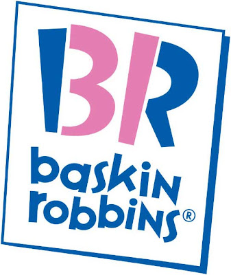 Into the Baskin Robbins logo it may look like that it simply BR above the
