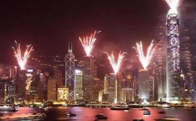 kembang api Tahun baru di hongkong