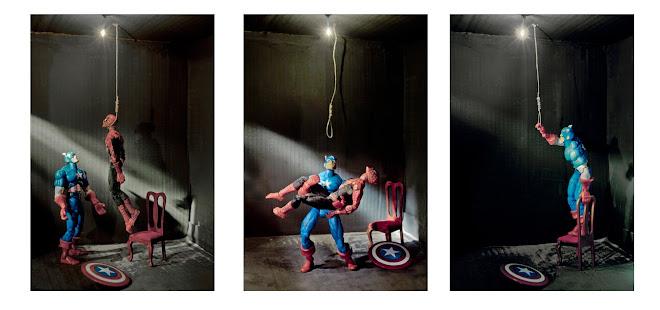 """""""el suicidio de spiderman"""" 2010 de la serie crymen triptico 112,50x75 cn/u."""