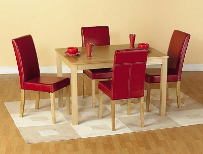 Oakmere Dining Set in Red Leather from Furniture 123