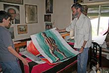 mi hijo David con Juan en su Estudio