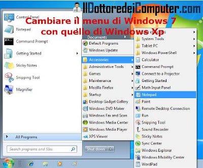 menu windows 7 simile a menu xp