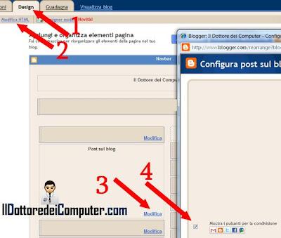attivazione pulsanti condivisione blogger