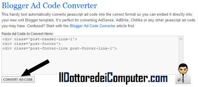 inserire codice html blogger