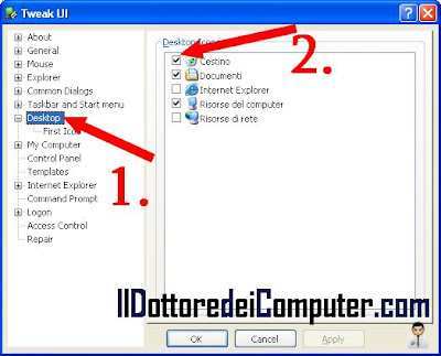 visualizzare nascondere icona cestino windows xp