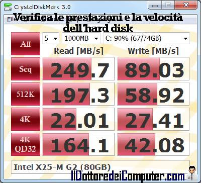 analizza prestazioni velocità hard disk