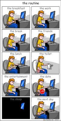 Imagen de la rutina de un geek