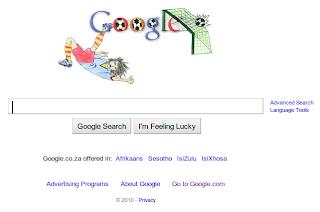 Imagen de Google Sudafrica celebrando el Mundial de Fútbol 2010