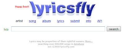 Imagen de la página principal de Lyricsfly