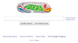 Imagen del doodle de Google anunciando la Gran Final de fútbol entre España y Holanda