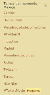 Imagen de los hashtags del momento en México