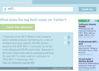 Imagen de un ejemplo de la definición de una hashtag de twitter
