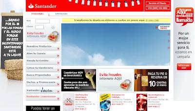 Imagen del sitio oficial del Banco Santander de Chile