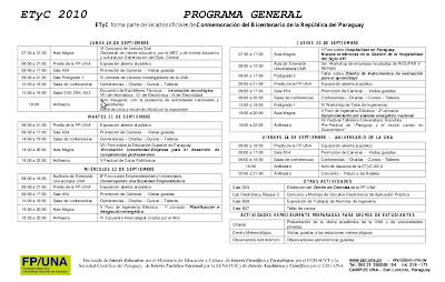 Imagen del programa general de la ETyC 2010