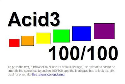 Imagen de Google Chrome del acid3 test