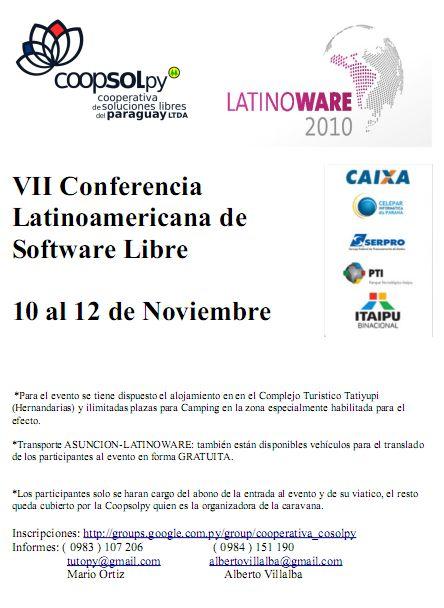 Imagen de la caravana de Latinoware 2010 organizada por la Coopsolpy