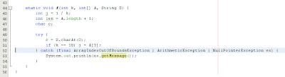 Imagen de un ejemplo de multicatch en java 7