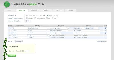 Imagen de un ejemplo del sitio Generatedata.com