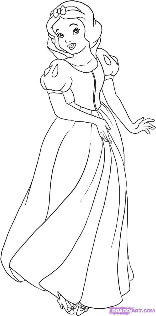 How to draw snow white one of disney s animated cartoons step by step