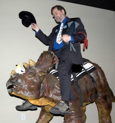 PZ Meyers Creozerg Creation atheist museum rides dinosaur